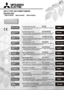 Manual de usuario unidad Mitsubishi Electric aire acondicionado modelo msz-fh